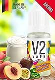 V2 Vape Pfirsich-Maracuja-Joghurt AROMA/KONZENTRAT hochdosiertes Premium Lebensmittel-Aroma zum selber mischen von E-Liquid/Liquid-Base für E-Zigarette und E-Shisha 10ml 0mg nikotinfrei