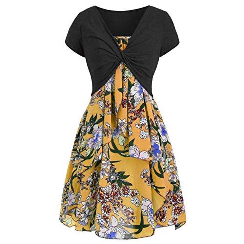 POPLY Frauen Kleiden 2pcs Klage - Damen Elegant Beiläufiges Cami Blumen Kleid mit Ernte T-Shirt/Women Floral Dress Set(Gelb,XXL)