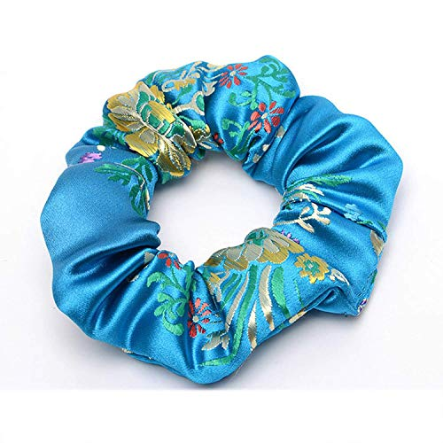 OULN1Y Stirnband 2019 New Flower Embroidered Satin Silk Brocade Scrunchies Lady Hair Accessories Hair Ties for Women Fashion Accessories,Blue -