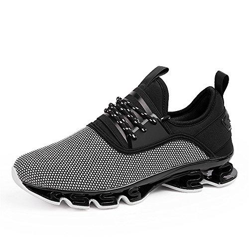 Herren Laufschuhe Fitness straßenlaufschuhe Sneaker Sportschuhe atmungsaktiv Rutschfeste Mode Freizeitschuhe (Grau,42)