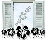 Fenstertattoo ~ Blumenranke Hibiskus E, Hawaii Blumen ~ glas004-100x34 cm Aufkleber für Fenster, Glastür und Duschtür aus Glas, Fensterbild, wasserfeste Glasdekorfolie in Sandstrahl - Milchglas Optik