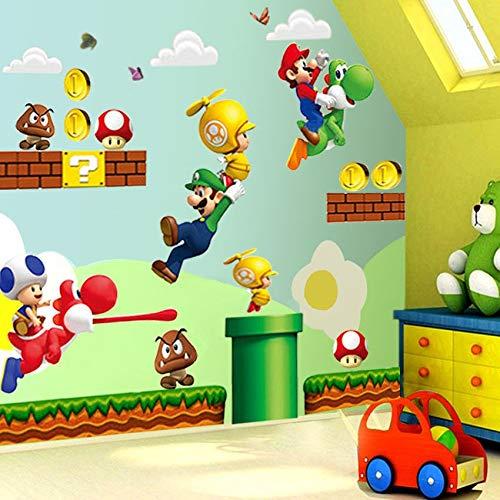 LIZHIOO 3D Wandaufkleber Super Mario Bros Wandbild Wandaufkleber Abnehmbare Vinyl Aufkleber Kinder Kinderzimmer Dekor Kunst Kinderzimmer Dekor Hause Kinderzimmer Dekor (Tuch Bros Mario)