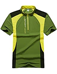 magcomsen Hombres de cremallera cuello manga corta senderismo escalada Hungting pesca camisetas Top Tees, hombre, color Grass Green, tamaño L