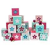 Papierdrachen DIY Adventskalender Kisten Set - Motiv Rosa - 24 bunte Schachteln zum Aufstellen und zum Befüllen - 24 Boxen