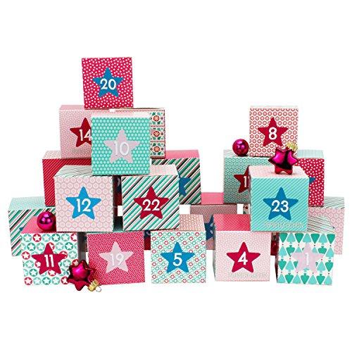 Set de boîtes calendrier de l'Avent DIY – 24 boîtes colorées à poser et remplir – 24 boîtes - rose