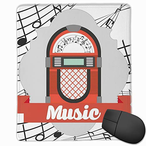 Mouse Mat Stitched Edges, Old Vintage Music Radio Box Cartoon Image With Notes Artwork Print,Gaming Mouse Pad Non-Slip Rubber Base Vintage Hard Rubber