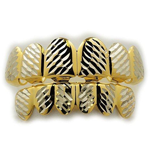 Zahnschmuck Grillz für Herren, für oben und unten, zweifarbig vergoldet, Gold/Silber, Diamantschliff, Stil: Hip Hop - Beste Halloween-fake-zähne