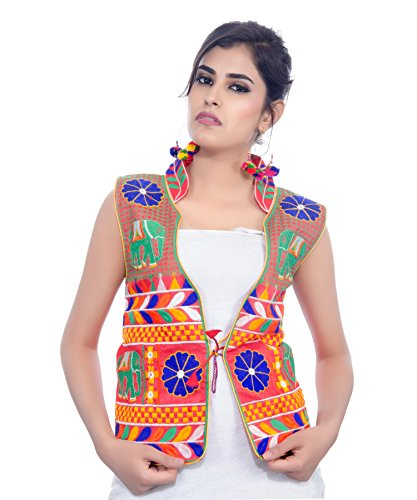 Banjara Women's Embroidered Jacket MJK-HTH01_Red_Free Size
