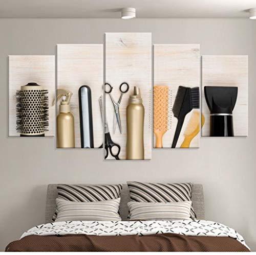 Multi-panel-rahmen (wmyzfs HD 5 Stück Wand Drucke Poster Friseur Werkzeuge Multi Panel Leinwand Wand Poster Gemälde Auf Leinwand Wandkunst Für Wohnzimmer)
