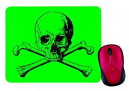 Mauspad GEKREUZTEN KNOCHEN- SCHÄDEL- GEFAHR- TOD- HALLOWEEN- TOTEN- PIRAT- HORROR- SKELETT- KNOCHEN- WARNUNG- TOTENKOPF in Grün | Mousepad - Mausmatte - Computer Pad - Mauspad mit Motiv
