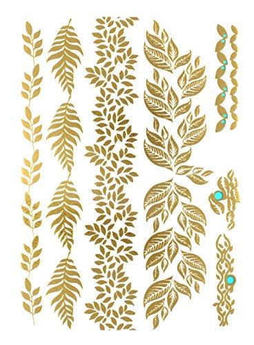 flash-tattoo-metallic-temporary-einmal-tattoo-klebe-gold-silber-floral-blatter-armband-kette-gold