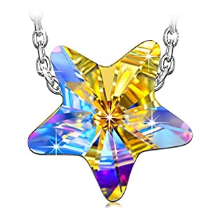 Kami Idea Damen Kette Glücksstern 925 Sterling Silber mit Aurore Boreale Swarovski Kristall, Kommt in Eleganten Geschenk-Box, Nickel-Freie Bestanden SGS Test
