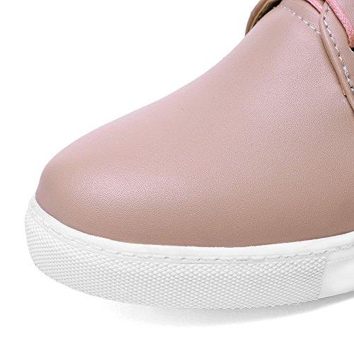 AgooLar Femme Cuir de Bœuf à Talon Bas Rond Couleur Unie Lacet Chaussures Légeres Rose