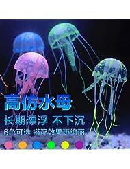 JXC-L'aquarium de méduses fish tank decoration faux gazon,jaune,méduse trompette