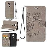 pinlu Schutzhülle Für Huawei G7 Plus / G8 / GX8 (5.5 Zoll) Handyhülle Hohe Qualität PU Ledertasche Brieftasche Mit Stand Function Innenschlitzen Design Schmetterling Gras Muster Grau