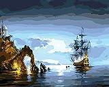 YEESAM ART Neuheiten Malen nach Zahlen Erwachsene Kinder, Sea Merkwürdige Landschaft Boot 40x50 cm Leinen Segeltuch, DIY ölgemälde Weihnachten Geschenke