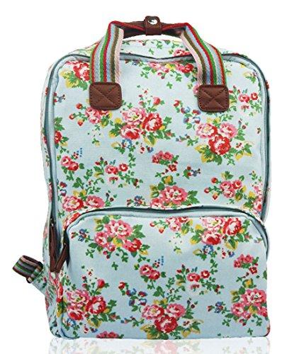 Kukubird Divers Chien Caniche Teckel Papillon Oiseau Chat Toile Imprimé Floral Laptop Backpack Sac À Dos Avec Sac À Poussière Kukubird Floral - Sky Blue