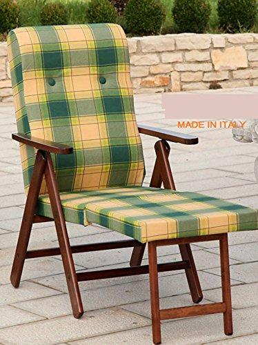 Poltrona sedia sdraio molisana (bordeaux) in legno pieghevole cuscino imbottito soggiorno cucina salone divano