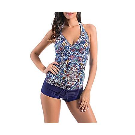 Evedaily Femme Maillot de Bain 2 Pièces Amincissant Sexy Col V - Tankini Shorty Push UP Rembourré Motif Fleuri- Beachwear Plus Size