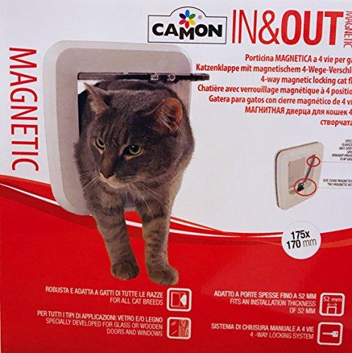 Katzenklappe Tür für Katzen magnetisch Glas und Holz weiß