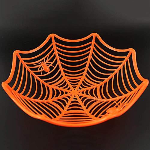 RUST Weihpe Kunststoff Spinnennetz Obst Süßigkeiten Korb Kreative Spinnennetze Schüssel Halloween Party Dekoration Halloween Party Supplies Orange