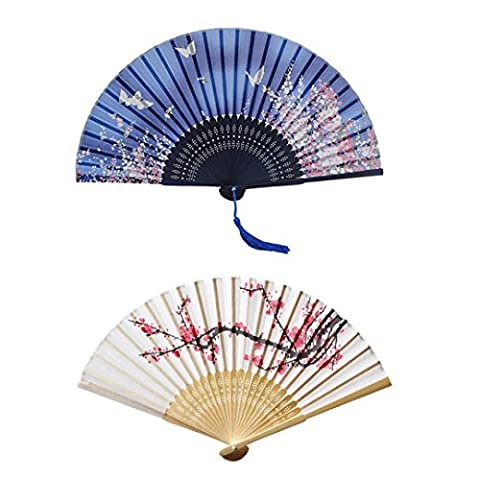 Hand Held Silk Folding Fans with Bamboo Frame, Cherry Blossom and Butterflies Flying among the Flowers Pattern, Pack of