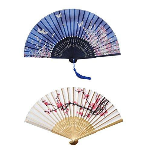Hand Held Seide zusammenklappbar Fans mit Rahmen aus Bambus, Cherry Blossom und Fliegende Schmetterlinge unter den Blumen Muster, 2Stück - Cherry Blossom Ärmel