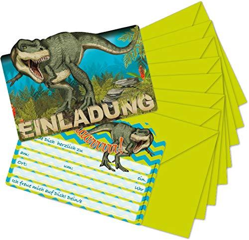 16-teiliges Set: 8 Einladungskarten mit 8 Umschläge * DINOSAURIER & T-REX * für Kindergeburtstag vom Lutz Mauder Verlag // 26023 // Kinder Geburtstag Einladung Karten DINO (T-rex Geburtstag Karte)