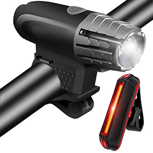 PINGLI Bicicleta USB, Luces Bicicleta Delantera y Trasera, LED Bicicleta USB Recargables, Impermeable Linterna Bicicleta,Fáciles Instalar para Ciclismo Carretera Montaña