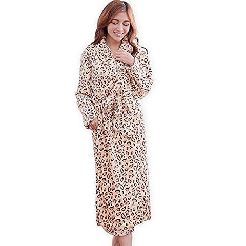 DMMSS Mme Coral flanelle peignoir flanelle chemise de nuit chaud épais peignoir léopard longue pyjamas , m
