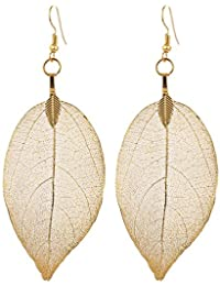 Valentine Gifts For Girlfriend Unique Gift For Your Girl Real Dry Leaf Earrings 18K Gold Plated For Women