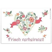 """Ballonflugkarten Hochzeit """"Frisch verheiratet"""" 100 Stück / extra leichte Flugkarten für weiten Flug / gelocht wetterfest Luftballons Herzluftballons Ballonkarten Hochzeitsspiel Vorlage Gute Wünsche"""