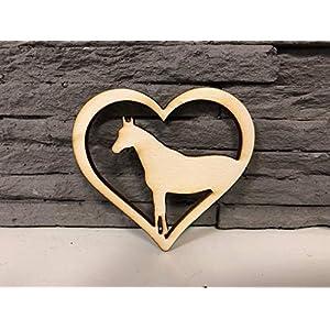 10 Stück Pferd mit Herz Sperrholz 4mm
