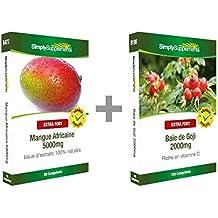 Simply Supplements Mangue Africaine 5000mg 60 Comprimés + Extrait de Baie de Goji 2000mg 120 comprimés | Pack minceur