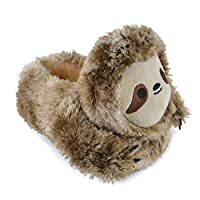 Unisex Kids Brown Sloth Faux Fur Novelty Slippers