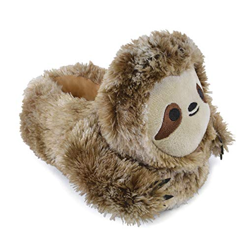 Unisex Adults/Older Kids Brown Sloth Faux Fur Novelty Slippers