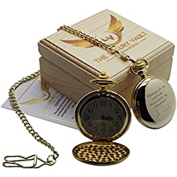 TOM WAITS Signed Gold Pocket Watch 24 Carat Gold Coated Full Hunter with Chain Luxury Gift Case