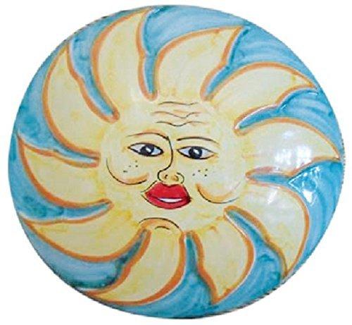 """Pannello a muro """"sole"""" decorato - ceramica artistica di vietri dipinta a mano (maiolica) - made in italy; diametro cm. 35, profondita' cm. 7."""