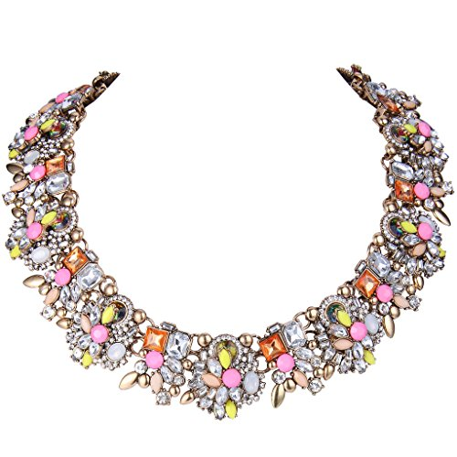 EVER FAITH® Vintage Stil Art Deco Statement Halskette österreichische Kristall Gold-Ton Pink Multifarbe N04130-4 (Art Deco Stil Modeschmuck)