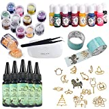 5 UV Crystal Clear Epoxidharz + 14 Open Back Bezels Formen Anhänger Charms + 2 Tapes + 13 Color Pigments + 12 Glitters Powders Mischen Schillernde Flocken Ultradünne Pailletten + Mini UV-Lampe + Pinzette