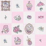 Kobayashi Rosaweiß Karierter Stoff mit Cupcakes Blumen Regenschirmen