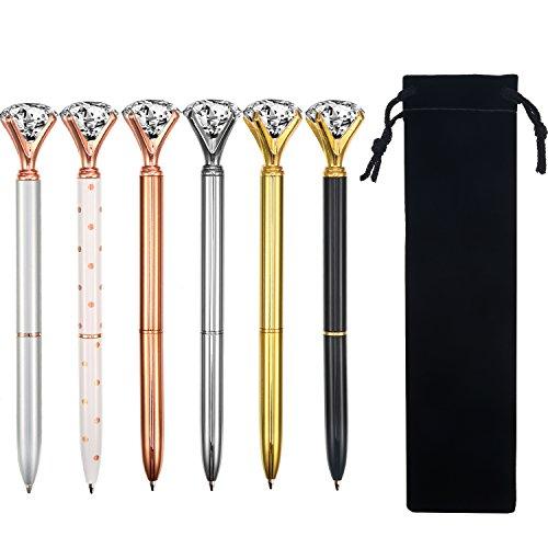 6 pezzi penna a diamante cristallo grande metallo nero penne a sfera in inchiostro con 6 borse di stoccaggio