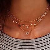 Jovono Fashion Gargantilla estrella Multi – Collar de capa para cumpleaños amistad joyas regalo día de la madre (oro)