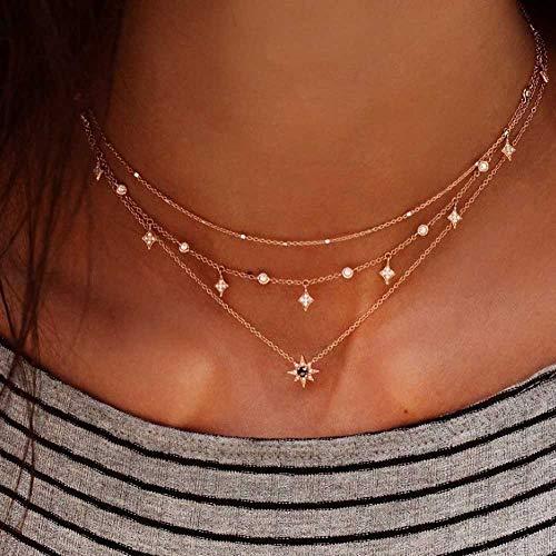 Jovono Fashion Gargantilla estrella Multi - Collar de capa para cumpleaños amistad joyas regalo día de la madre (oro)