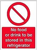 vsafety 44025an-s obbligatoria ristorazione Sign, Autoadesivo,alimenti o bevande non essere conservato in questo frigorifero, verticale, 150mm x 200mm, colore: rosso
