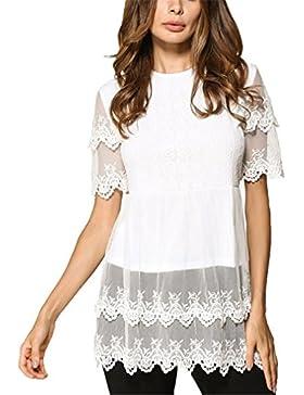 Blusa de Encaje Blanco Summer Style Women Tops Office Ladies Elegante Casual Cuello Redondo Manga Corta Top Blusas...