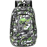 Super moderno unisex nailon escuela mochila para portátil bolsa para adolescente niñas y niños Cool deportes mochila Bolsa de regalo de Navidad bolsa de estudiante de camuflaje mochila de viaje, mujer, verde, large