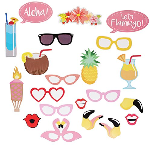 uisiten, 21-teilig Flamingo HAWAII Motto Sommer Party Foto Booth Props, Photo Booth Requisiten Kit für Urlaub Hochzeit Partyzubehör (Strand-motto-partys Für Erwachsene)