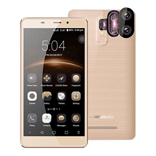 """Smartphone de 5.7"""" ,LEAGOO M8 Pro Teléfonos Móviles Libres 4G Android 6.0(8MP Cámara Frontal,13MP+5MP Dos Cámaras Traseras,2GB RAM+16GB ROM,1280*720 Resolución,Dual Sim,MTK6737 Quad Core 1.3GHz,Batería 3500mA,Identificación de Huella Digital) - Oro"""