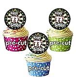 vorgeschnittenen Dartscheibe Darts Motto–77th Geburtstag–Essbare Cupcake Topper/Kuchen Dekorationen (12Stück)